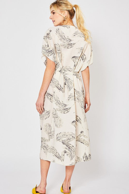 Tropical Scoop Neck Midi Dress