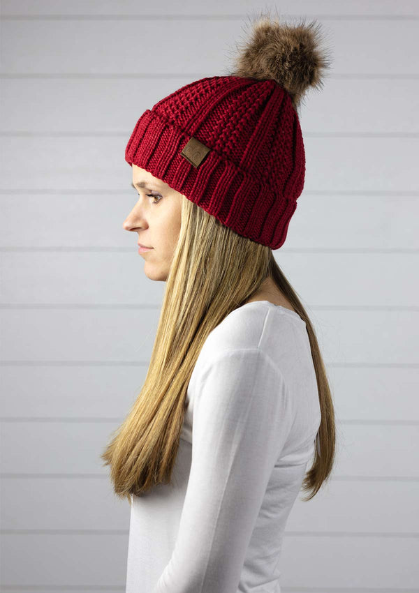 womens fleece lined thick knit beanie winter hat with faux fur pom pom