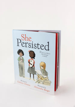 A copy of a book titled She Persisted