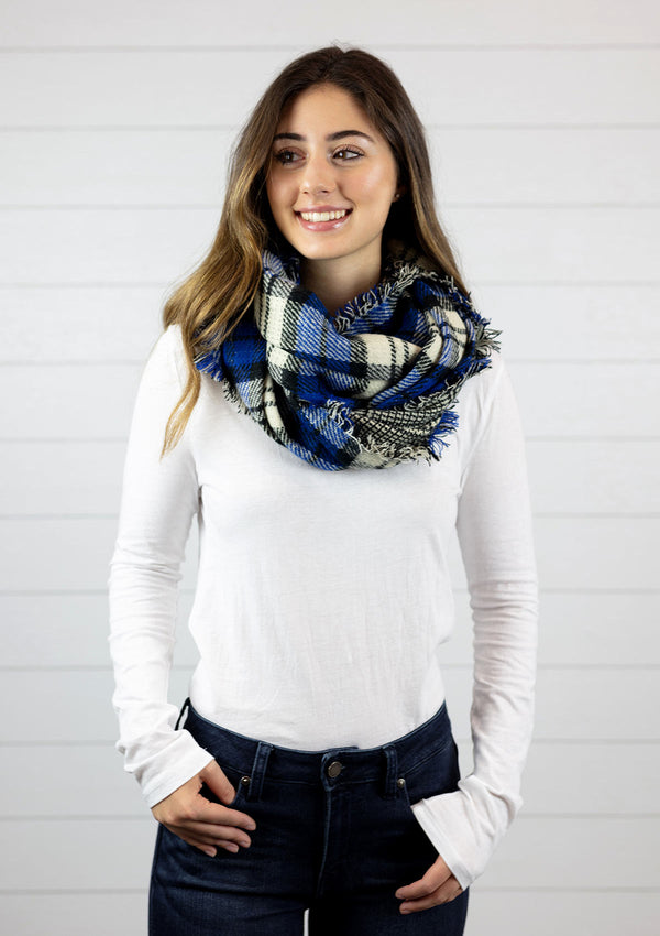 Woman wearing a Double Sided Plaid Infinity Scarf