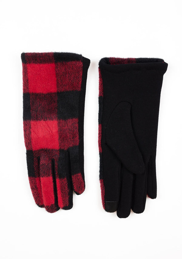 pair of red and black buffalo plaid smart touch gloves