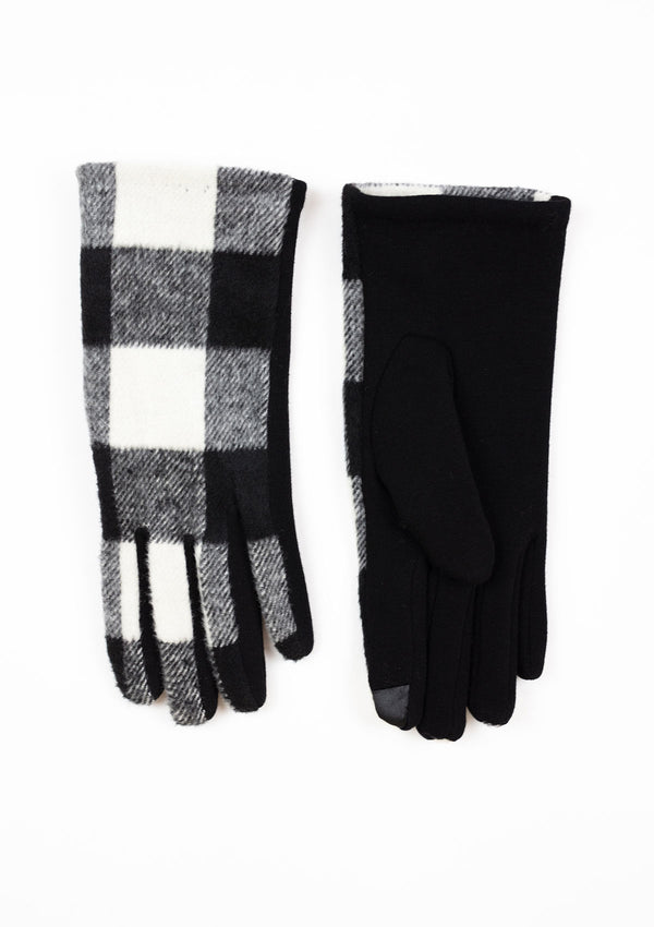 A pair of black and white buffalo Plaid Smart Touch Gloves