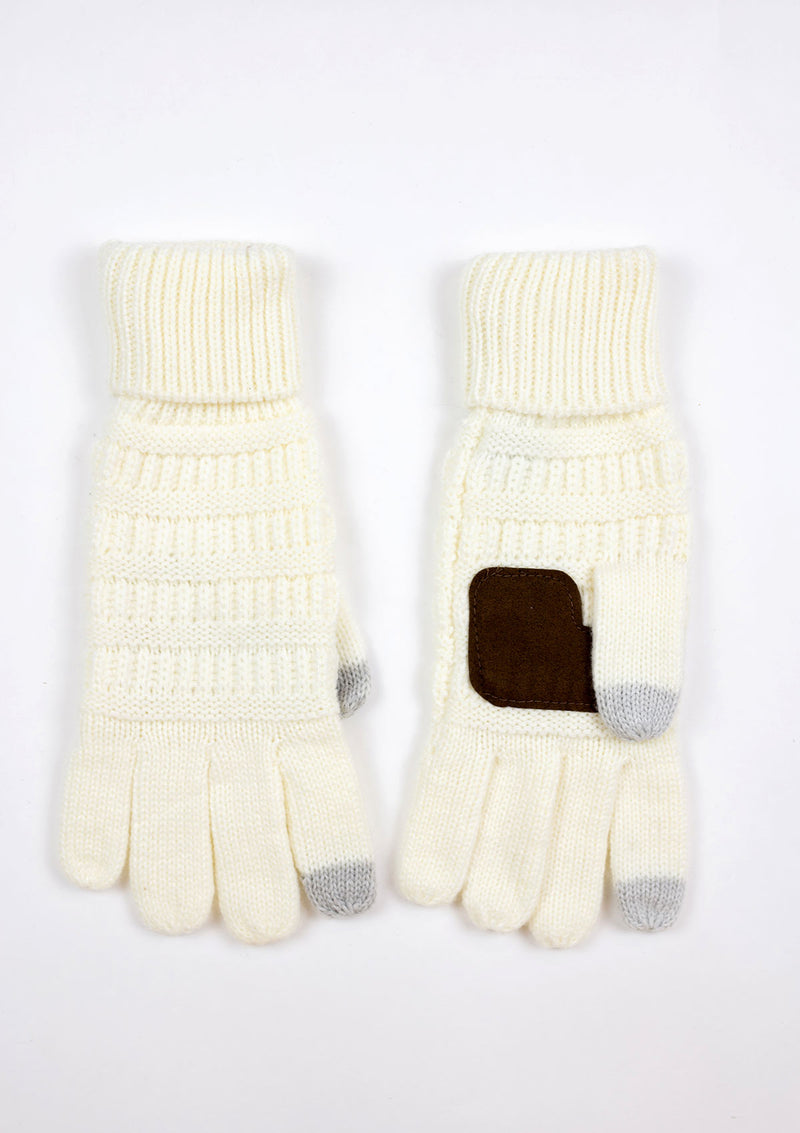 Smart Touch Knit Gloves with Suede Palm Patch