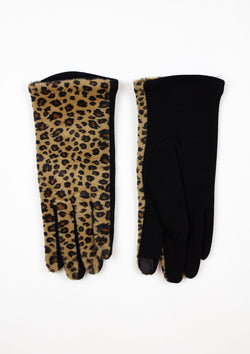 A pair of Leopard print Smart Touch Gloves
