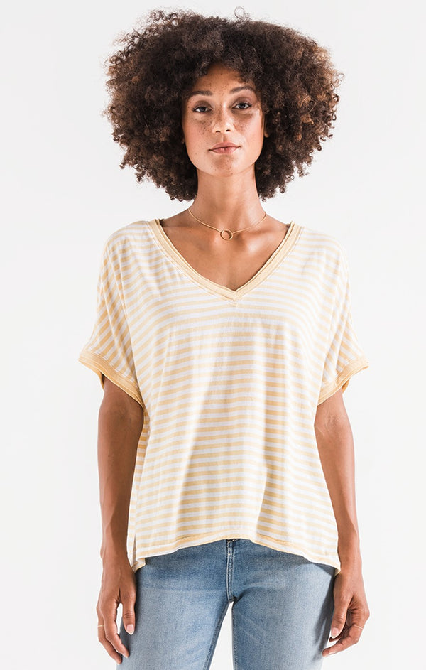 Stripe Boyfriend V Neck