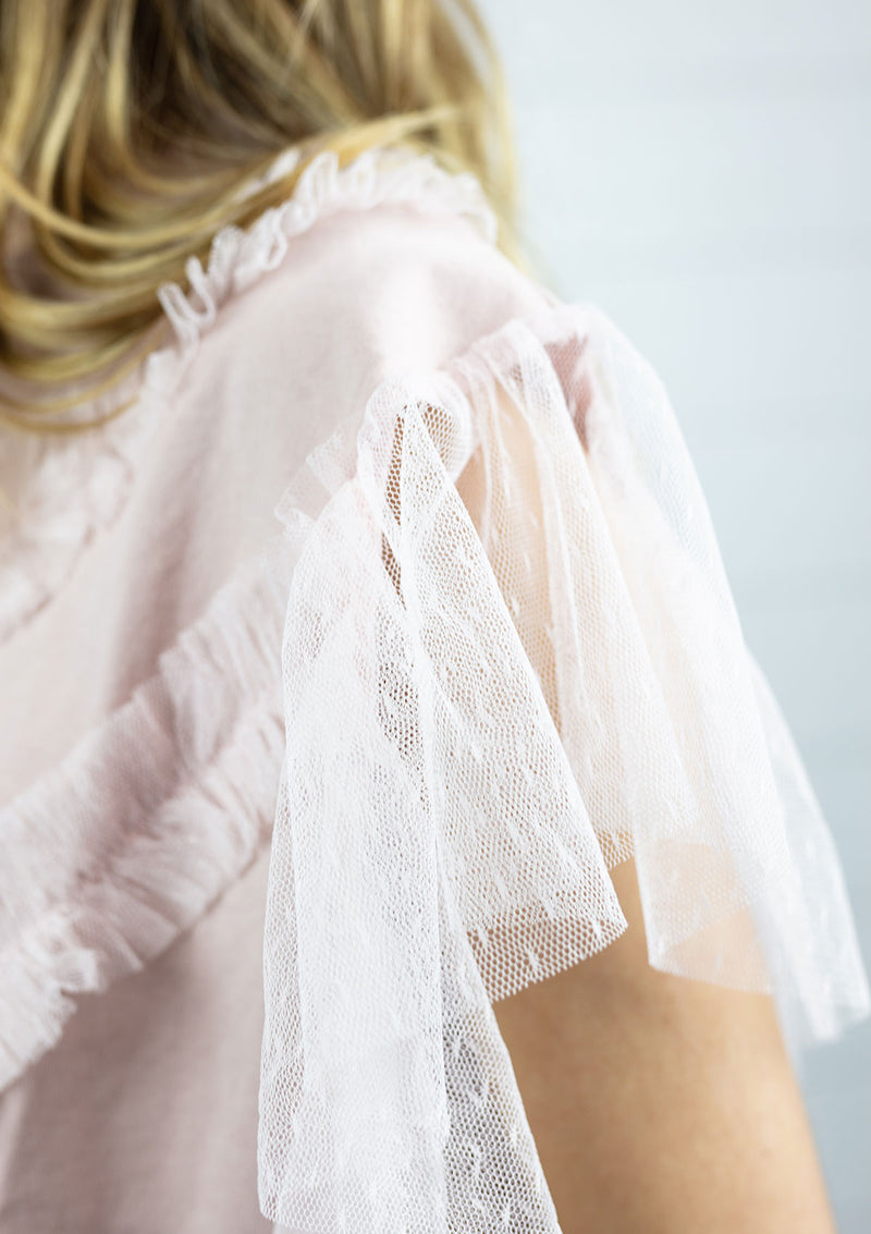 Blush Pink Tulle Sleeved T-Shirt