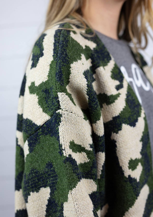 Camo Openfront Cardigan