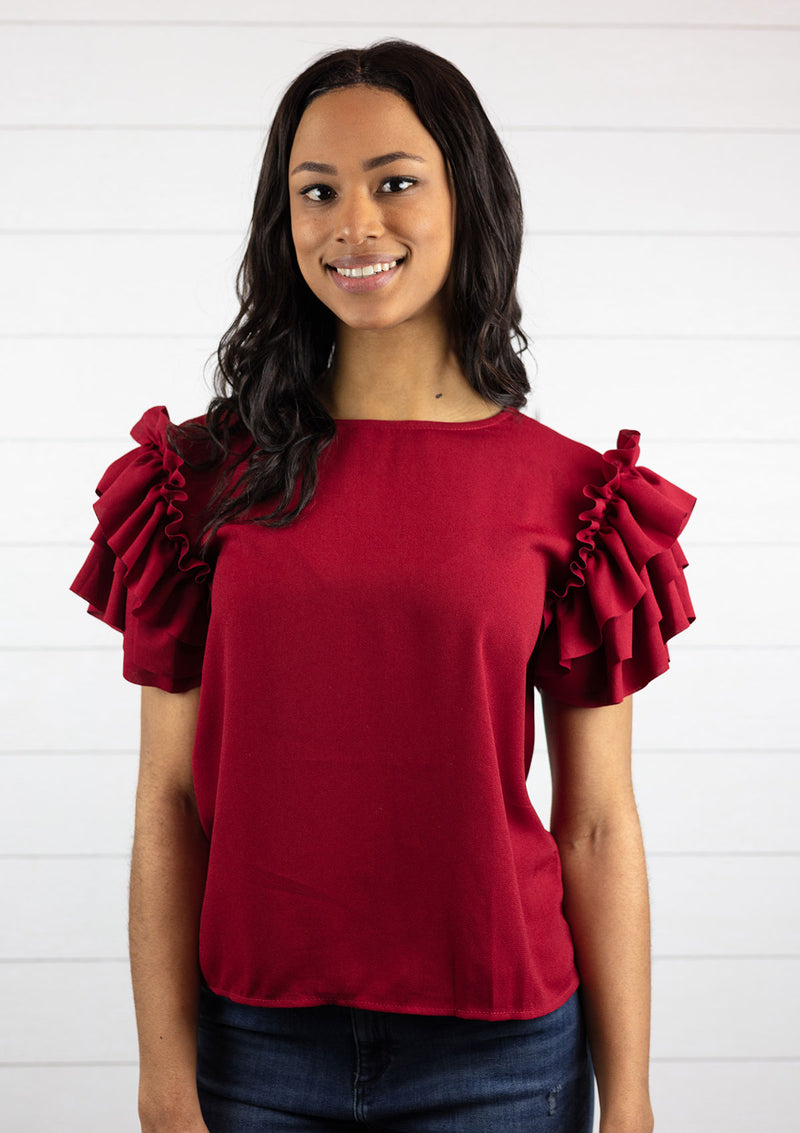 Tiered Ruffle Sleeve Top