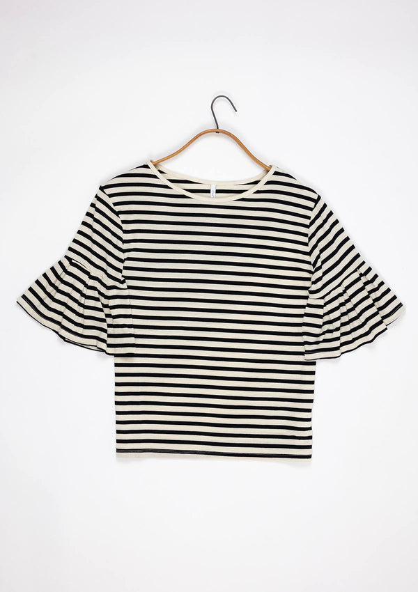 Striped Ruffle Tee