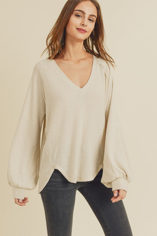 Brushed Ribbed High Low Sweater -  ShopatGrace.com