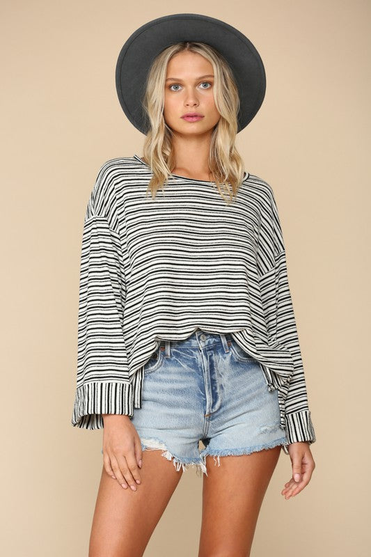 Boatneck Boxy Stripe Top -  ShopatGrace.com