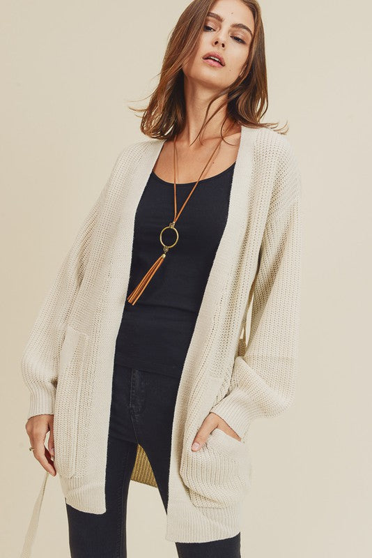 Knit Cardigan with Pockets - SM / CREAM ShopatGrace.com