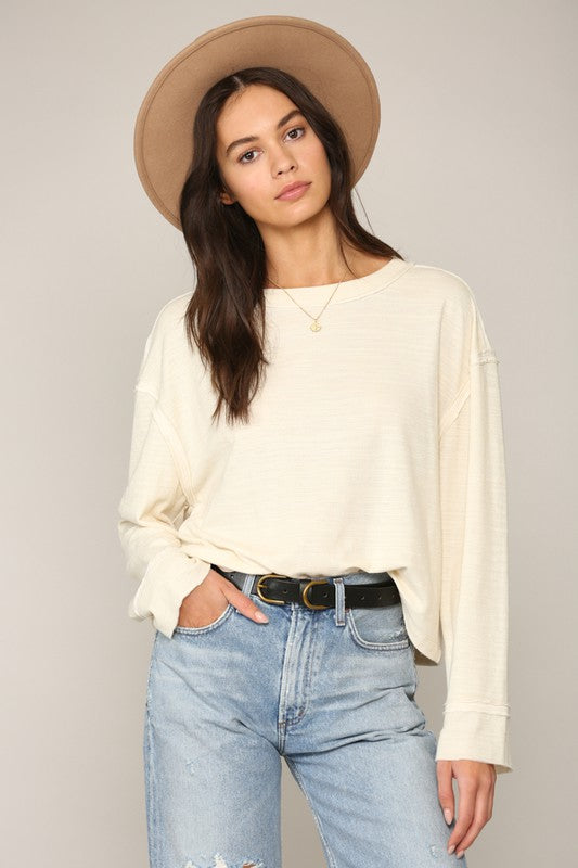 Double Gauze Knit Top - S / CREAM ShopatGrace.com