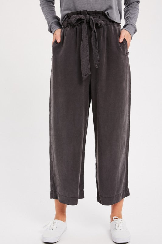 Self-Tie Belted Tencel Pants - S / CHARCOAL ShopatGrace.com