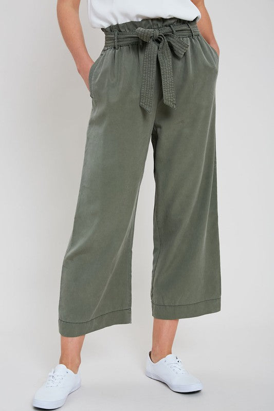 Self-Tie Belted Tencel Pants - S / OLIVE ShopatGrace.com
