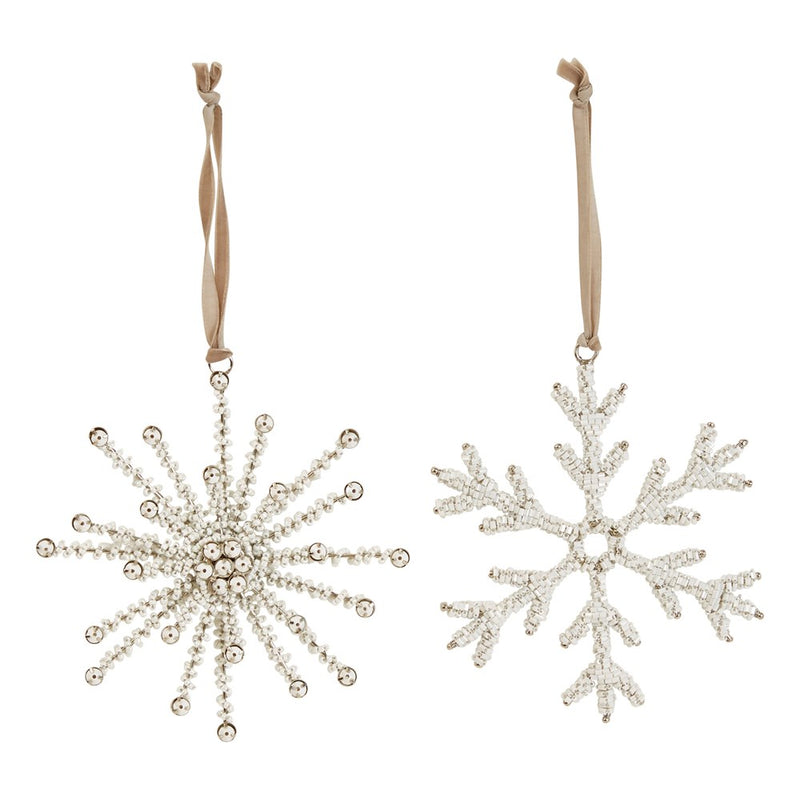 Glass Bead & Metal Snowflake Ornament -  ShopatGrace.com