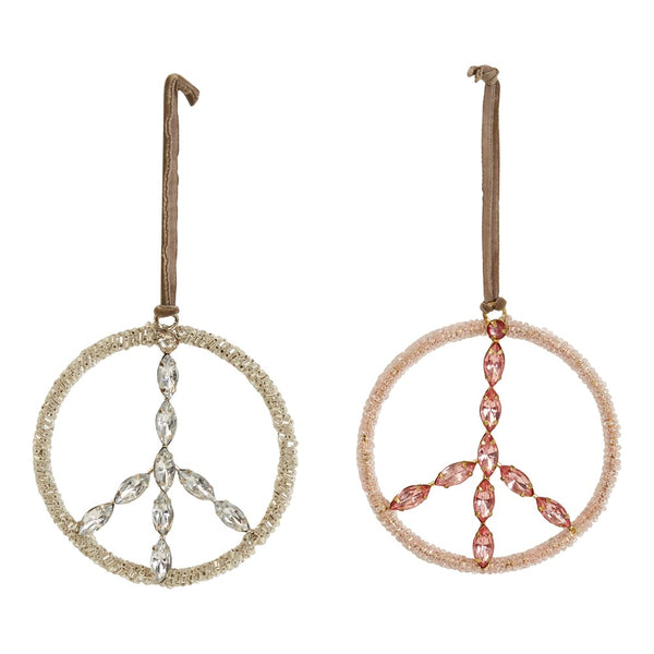 Glass Bead & Jewel Peace Sign Ornament -  ShopatGrace.com