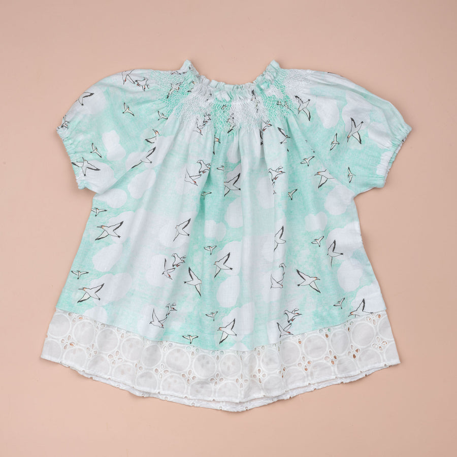 Seagulls Blouse with Lace Edge
