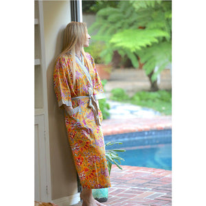 Yellow Block Printed Floral Robe - The Fox and the Mermaid