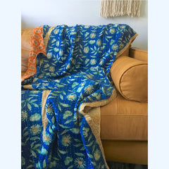 Vintage Kantha Handmade Quilt The Fox and the Mermaid
