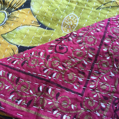 Purple and green kantha quilt The Fox and the Mermaid