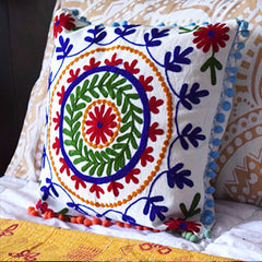 Suzani Embroidered Pillow The Fox and the Mermaid  Hmong HIll Tribe Embroidered Cushion The Fox and the mermaid