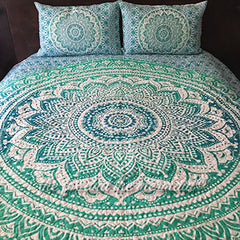 green ombre mandala tapestry quilt