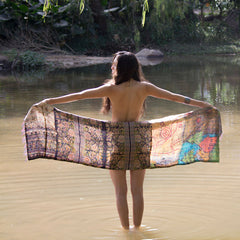 silk hand-stitched kantha scarf The Fox and the Mermaid