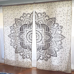 silver mandala tapestry curtains