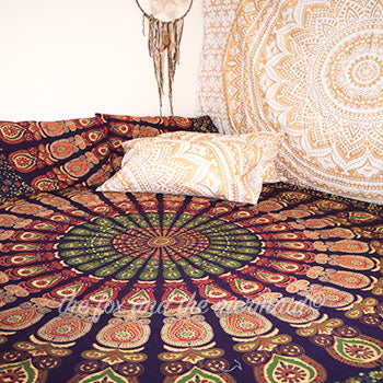 brown and purple mandala tapestry bedding