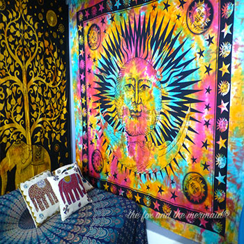 tie-dye roundie and mandala elephant tapestry