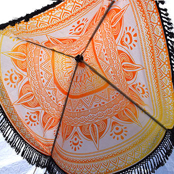 yellow ombre mandala tapestry round with black fringe