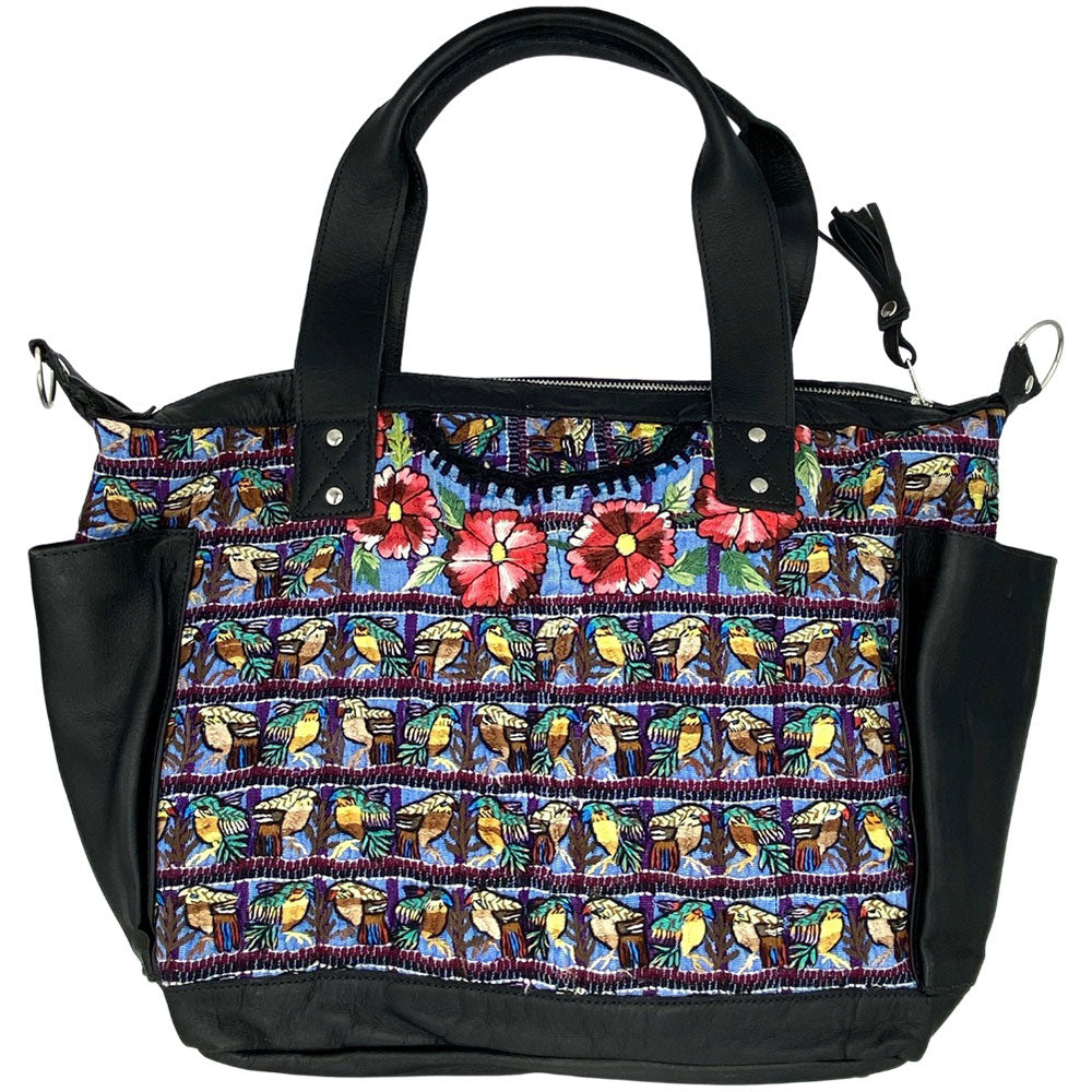 large black leather bag with embroidered birds - The Fox and the Mermaid