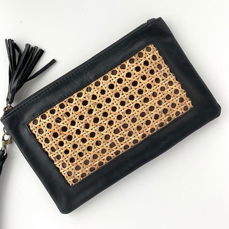 black leather rattan purse straw clutch bags The Fox and the Mermaid