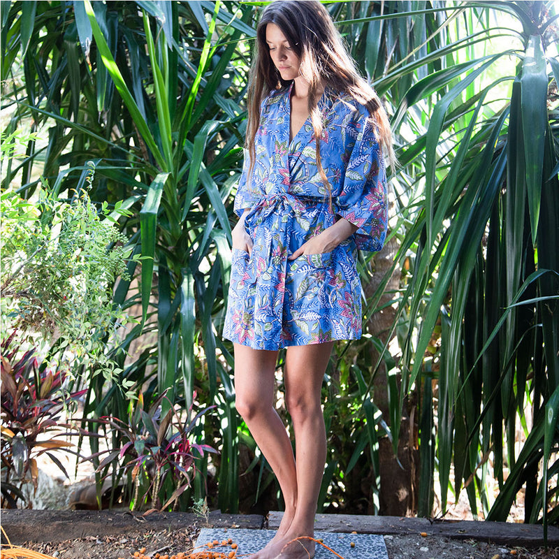 Blue kimono robe with matching shorts - The Fox and the Mermaid