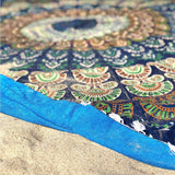 round beach towel detail The Fox and the Mermaid