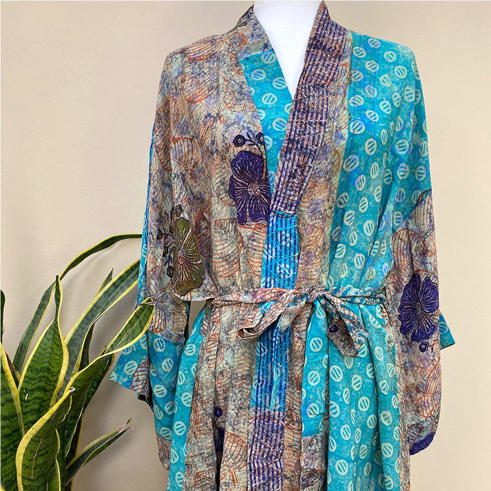 blue vintage silk sari robe  - THE FOX AND THE MERMAID
