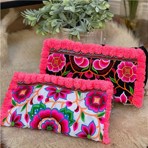 Hmong Embroidered Clutch with Pom-Poms (in Black or White) - The Fox and The Mermaid