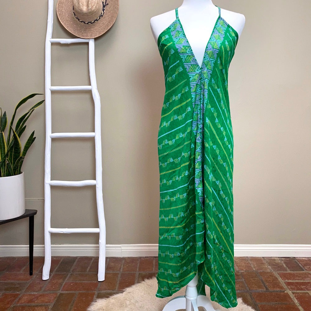Green indian silk dress - The Fox and the Mermaid