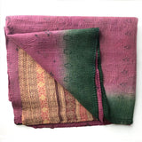 purple and green vintage kantha quilt The Fox and the Mermaid