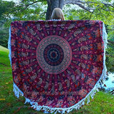 The Starling Mandala Roundie with White or Purple Fringe or Pom-Poms - The Fox and The Mermaid - 7