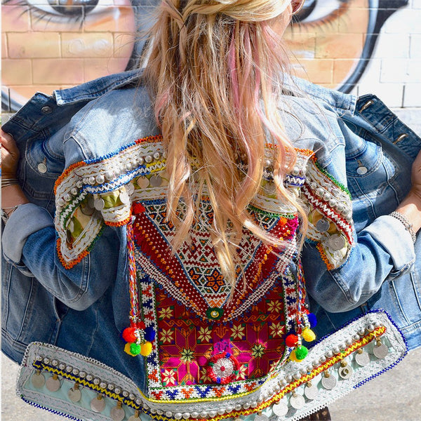 denim jacket with beads and  embroidery