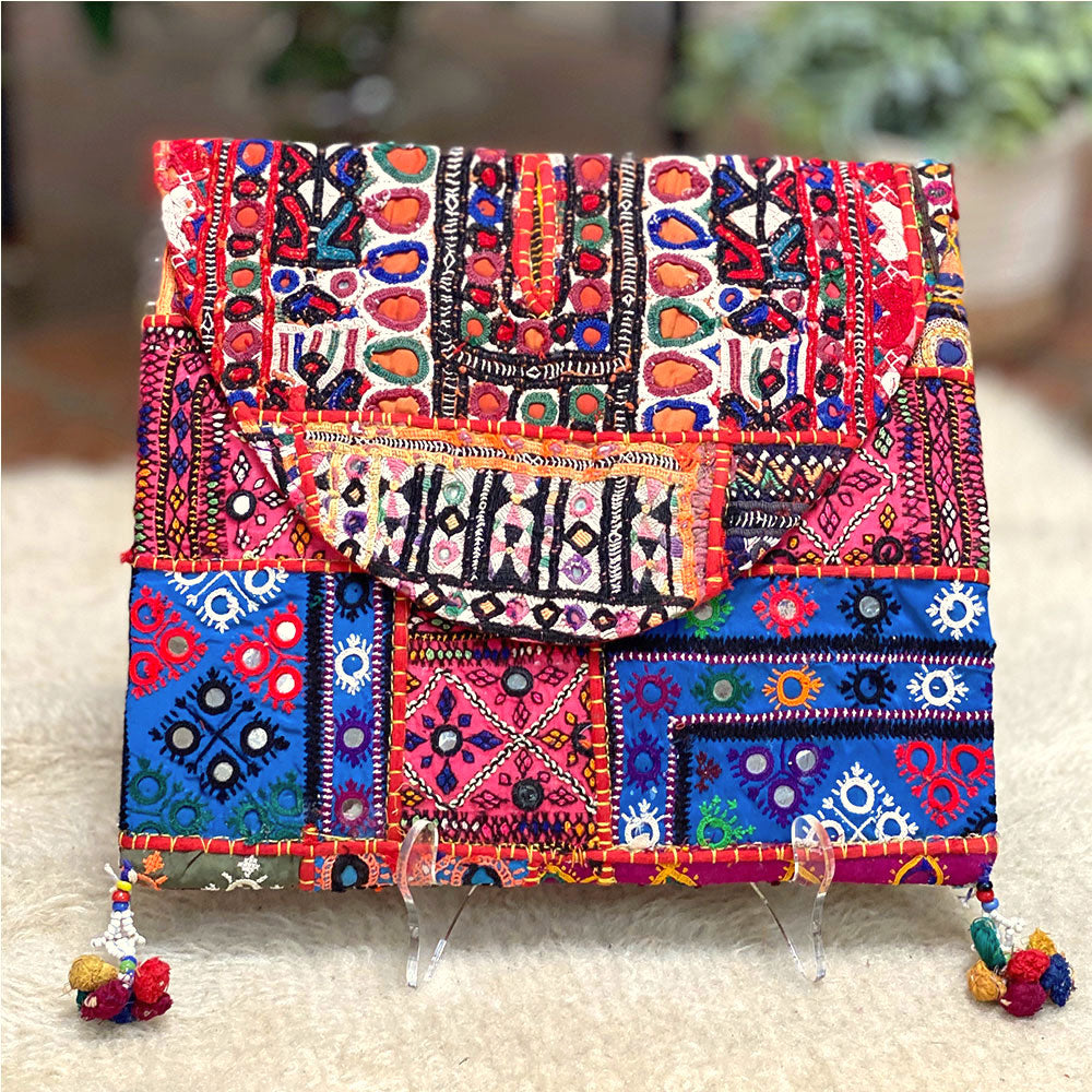 Blue and red embroidered tribal Clutch - The Fox and The Mermaid