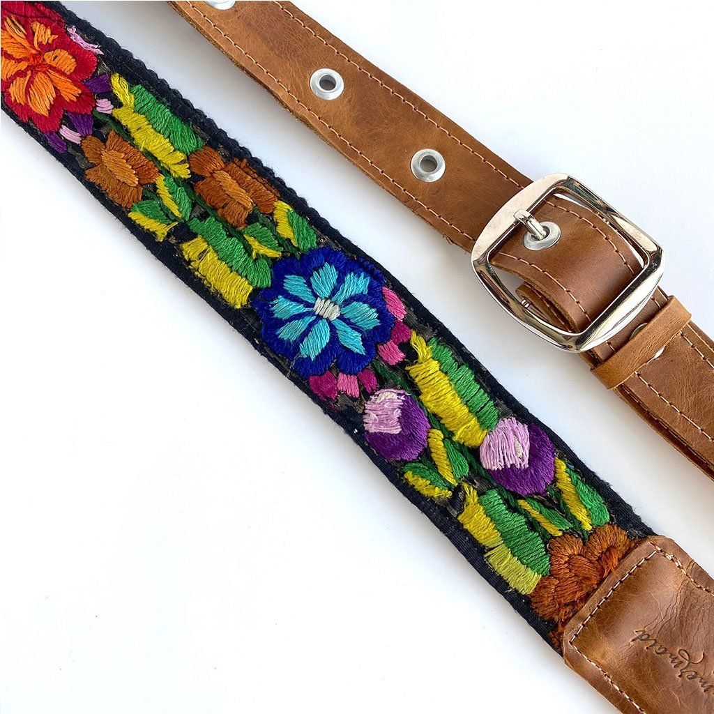 detail of adjustable guatemalan embroidered strap The Fox and the Mermaid