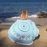 Minty Green Ombre Mandala Roundie with Thick Fringe - The Fox and The Mermaid - 3