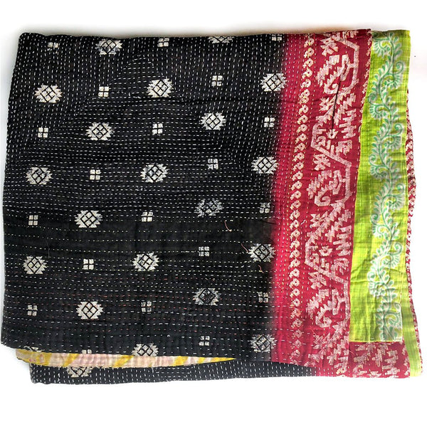 black and red kantha quilt with silver paint The Fox and the Mermaid