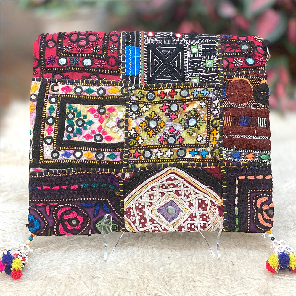 Vintage Indian Boho clutch - The Fox and the Mermaid