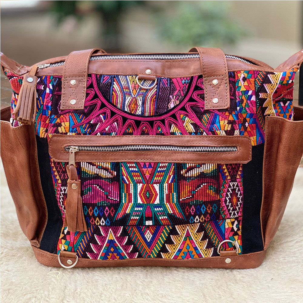 Guatemalan Leather Tote w Crossbody strap Leather  Huipil