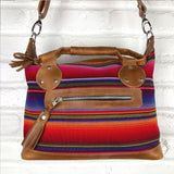 back view of serape mini purse Leather Embroidered Strap