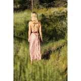 back view of pink silk boho dress The Fox and the Mermaid